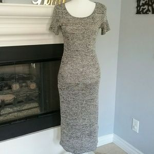 H&M Gray Maxi Knitted Open-back Dress (s)